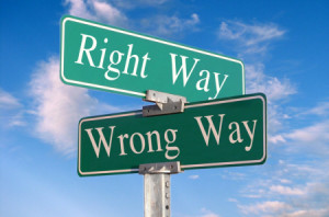 right-way-wrong-way sign